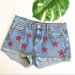 Levi's Cut Off Blue Jean Shorts Red Stars Denim